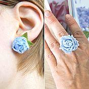 Украшения handmade. Livemaster - original item Set of jewelry with blue peonies, polymer clay. Handmade.