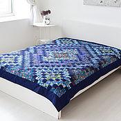 Одеяла ручной работы. Ярмарка Мастеров - ручная работа Синее 165x215cm лоскутное покрывало-одеяло, Печворк. Handmade.