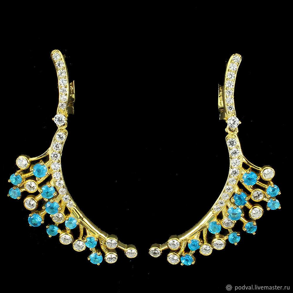 Long earrings with natural apatites ' Jaconda', Earrings, Korolev,  Фото №1