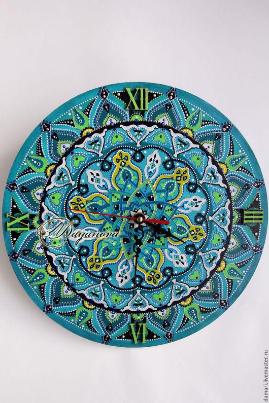 """Часы для дома ручной работы. Ярмарка Мастеров - ручная работа. Купить Часы настенные """"Восточный орнамент"""". Handmade. Тёмно-бирюзовый"""