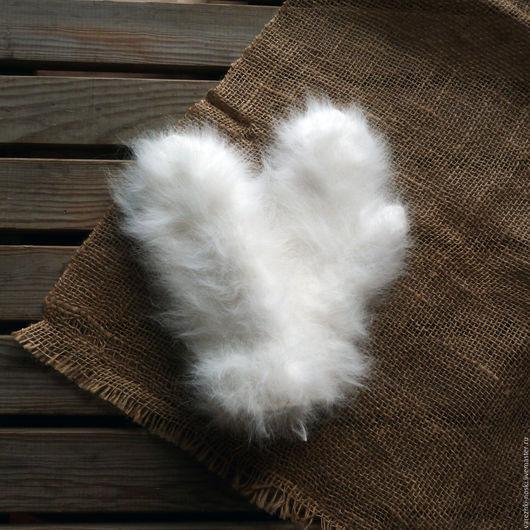 Варежки, митенки, перчатки ручной работы. Ярмарка Мастеров - ручная работа. Купить Варежки очень пушистые кроличьи. Handmade. Белый