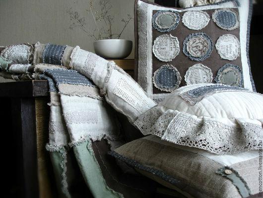 """Текстиль, ковры ручной работы. Ярмарка Мастеров - ручная работа. Купить """"Осень"""" лоскутный комплект. Handmade. Ноябрь, спокойный, надписи"""