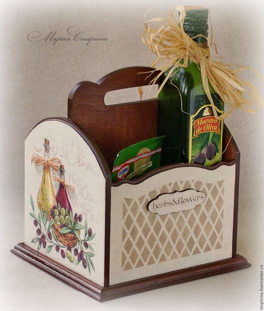 короб для специй, короб для масла, оливки, кухонный короб, ручная работа спириной, маша спирина, средиземноморский стиль, в стиле прованс, декор кантри, кухня загородного дома, подарок хозяйке