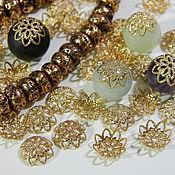 Материалы для творчества handmade. Livemaster - original item Beanies for beads gold dark rhodium plated. 10 pcs. Handmade.
