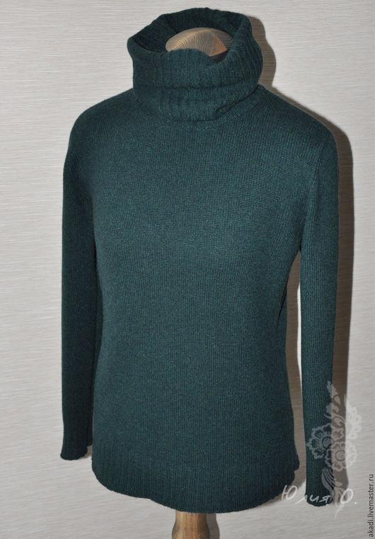 Кофты и свитера ручной работы. Ярмарка Мастеров - ручная работа. Купить Свитер / водолазка вязаный темно - зеленый. Handmade.