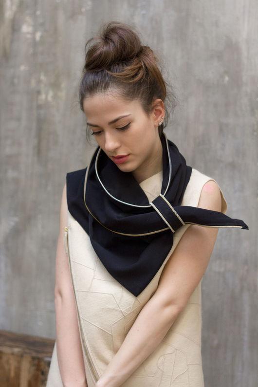 Шарфы и шарфики ручной работы. Ярмарка Мастеров - ручная работа. Купить Стильный женский шарф с молниями / Эффектный черный шарф. Handmade.
