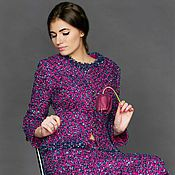 Одежда ручной работы. Ярмарка Мастеров - ручная работа костюм из ткани  Chanel.синий цикламен. Handmade.