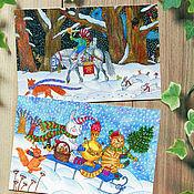 Открытки handmade. Livemaster - original item A set of Cards with original prints of the New year, Christmas. Handmade.