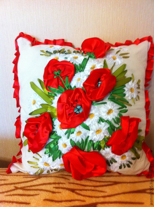 """Текстиль, ковры ручной работы. Ярмарка Мастеров - ручная работа. Купить подушка декоративная """"Маки"""". Handmade. Ярко-красный"""