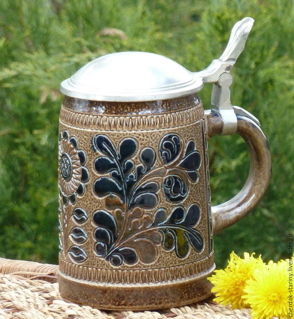 Винтаж: Пивная кружка с оловянной крышкой Marzi&Remy. Германия. Винтаж, Винтажные кружки, Пенза, Фото №1