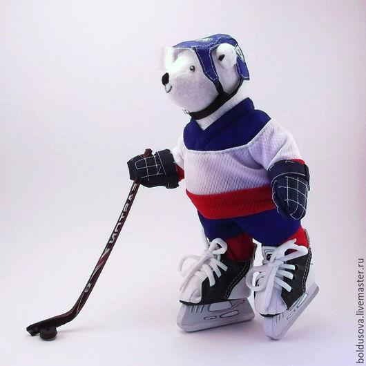 Игрушки животные, ручной работы. Ярмарка Мастеров - ручная работа. Купить Мишка хоккеист (подарок спортсмену). Handmade. Синий