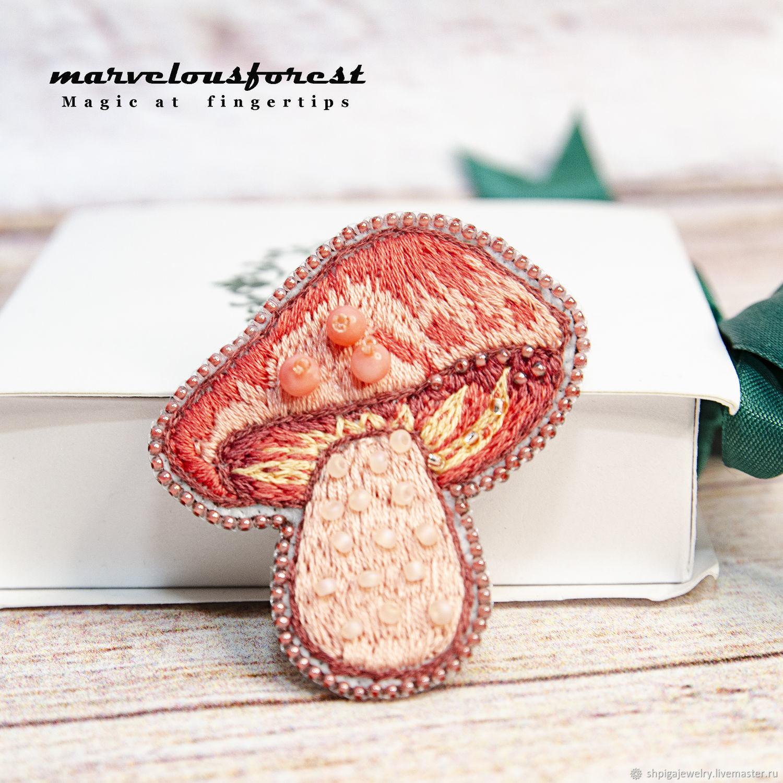 Вышитая брошь розовый гриб, Брошь-булавка, Буденновск,  Фото №1