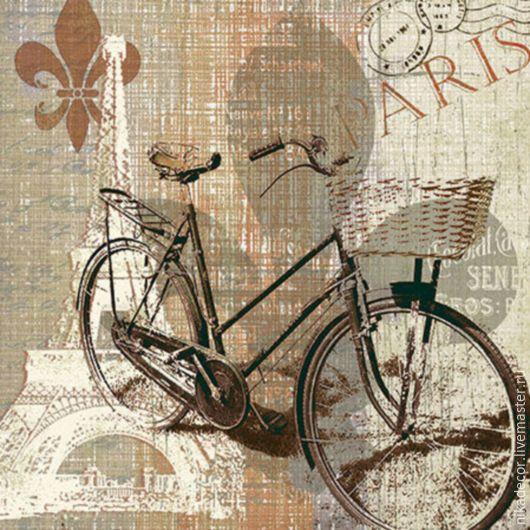 Декупаж и роспись ручной работы. Ярмарка Мастеров - ручная работа. Купить Велосипедная прогулка по Парижу (SDL82700) 33х33 салфетка для декупажа. Handmade.