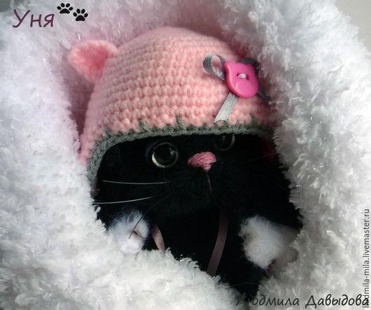 Людмила Давыдова , черный котенок, черная кошка, черный кот, игрушка черная кошка, мягкая игрушка, игрушка ручной работы, вязаная игрушка, котенок вязаный, купить игрушку кошку, купить черного кота