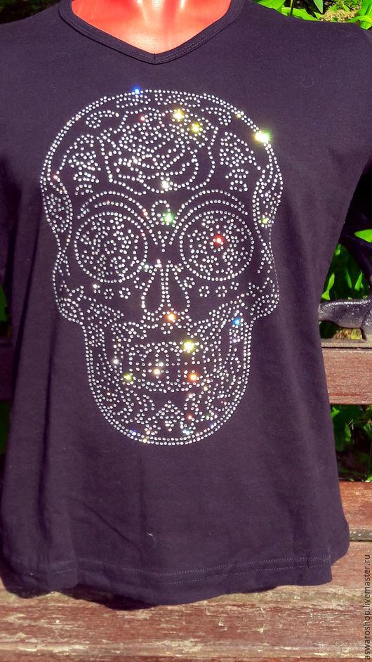 Уникальная футболка  с апликацией кристаллами премиум класса Череп