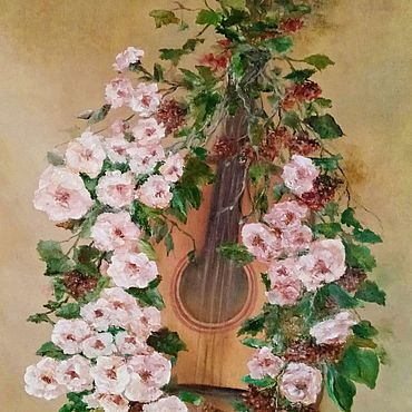 """Картины и панно ручной работы. Ярмарка Мастеров - ручная работа Картина: """"Гитара в цветах"""". Handmade."""