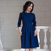 """Платья ручной работы. Ярмарка Мастеров - ручная работа """"Темно-синее"""" - платье из жаккарда с рукавом 3/4. Handmade."""