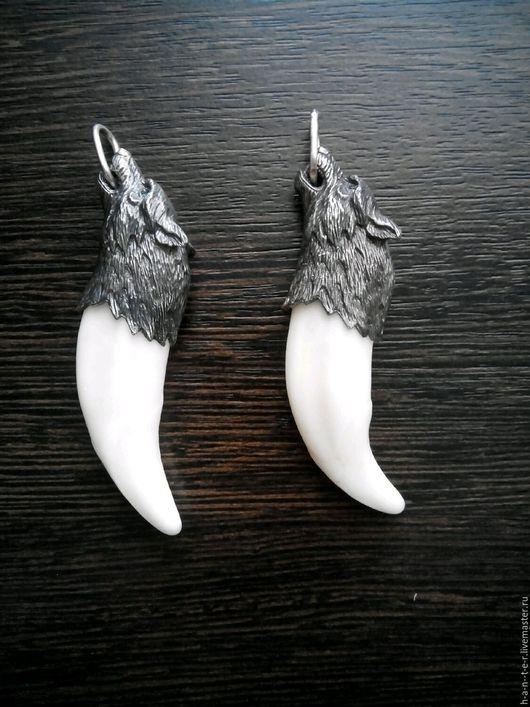 Обереги, талисманы, амулеты ручной работы. Ярмарка Мастеров - ручная работа. Купить крупный клык волка с серебряным навершием,доставка бесплатно. Handmade.