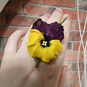 Украшения handmade. Livemaster - original item Ring made of leather Pansies of any color. Handmade.