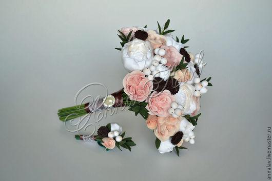 Свадебные цветы ручной работы. Ярмарка Мастеров - ручная работа. Купить Букет невесты с цветам из полимерной глины из пионов и роз. Handmade.