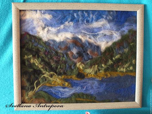 Пейзаж ручной работы. Ярмарка Мастеров - ручная работа. Купить Картина из шерсти Алтай. Handmade. Синий, шерстяная акварель