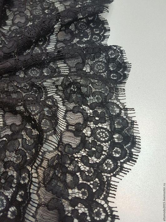 Шитье ручной работы. Ярмарка Мастеров - ручная работа. Купить Кордовое черное кружево с фестонами ткань Италия. Handmade. Черный