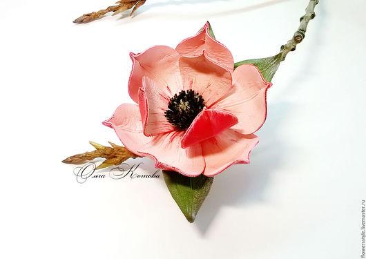 Броши ручной работы. Ярмарка Мастеров - ручная работа. Купить Брошь цветок из кожи Магнолия розовая нежность Цветы из кожи. Handmade.
