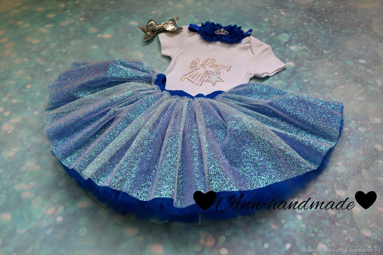 Платье для девочки, костюм с блестящей юбкой, наряд на крещение