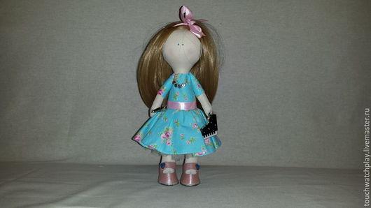 Человечки ручной работы. Ярмарка Мастеров - ручная работа. Купить Девочка музыкант. Handmade. Голубой, интрерьерная кукла, хлопок, ленты