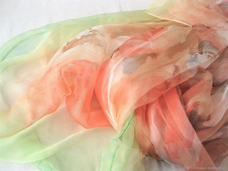 Крупные цветы  Шелковый шифоновый палантин 105х180 см, Материалы для валяния, Новосибирск,  Фото №1