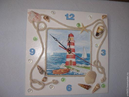 """Часы для дома ручной работы. Ярмарка Мастеров - ручная работа. Купить Часы и триптих """"Морские мотивы"""". Handmade. Часы, ракушки"""