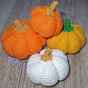 Куклы и игрушки ручной работы. Ярмарка Мастеров - ручная работа Вязаные овощи - Тыква (набор из 4 штук). Handmade.