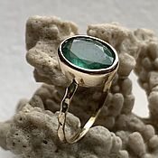 Украшения handmade. Livemaster - original item 2,36 ct VS Natural Emerald in women`s 585 Gold Ring. Handmade.