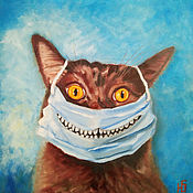 Картины и панно handmade. Livemaster - original item Painting cat in a mask, Cheshire cat on canvas for interior. Handmade.