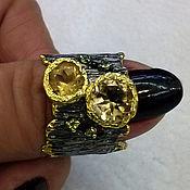 Украшения handmade. Livemaster - original item Ring silver 925 , natural stones - citrines, tourmalines. Handmade.