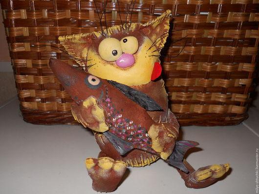 Куклы и игрушки ручной работы. Ярмарка Мастеров - ручная работа. Купить Пообедаем!!!(кот). Handmade. Кот, рыбак, коричневый, проволока