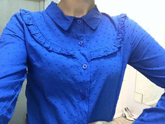 """Блузки ручной работы. Ярмарка Мастеров - ручная работа. Купить Блуза """"Синий волан"""". Handmade. Рубашка, блуза, синяя рубашка"""
