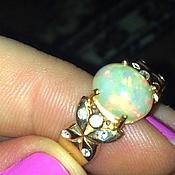 """Кольца ручной работы. Ярмарка Мастеров - ручная работа """" Бабочки зимой"""" кольцо с опалом Эфиопии. Handmade."""