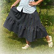 """Одежда ручной работы. Ярмарка Мастеров - ручная работа Юбка из джинсы """"Вечерняя долина"""",миди,ярусная,осенняя,летняя,в полоску. Handmade."""
