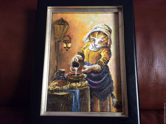 Животные ручной работы. Ярмарка Мастеров - ручная работа. Купить картина в подарок Молочница. Handmade. Бежевый, кухня, картина для интерьера