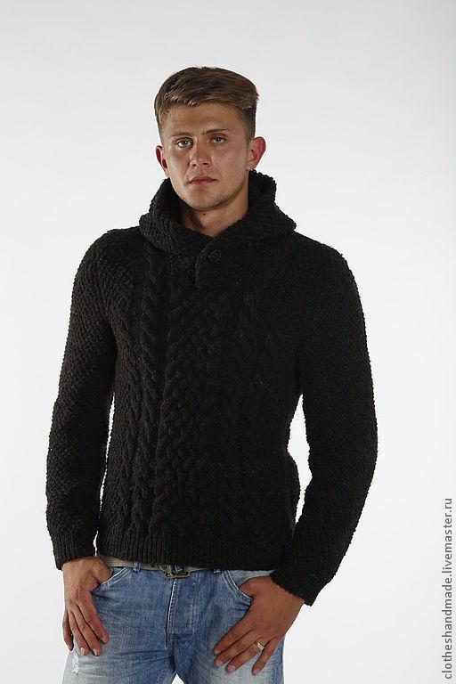 Для мужчин, ручной работы. Ярмарка Мастеров - ручная работа. Купить Мужской свитер с капюшоном. Handmade. Темно-серый