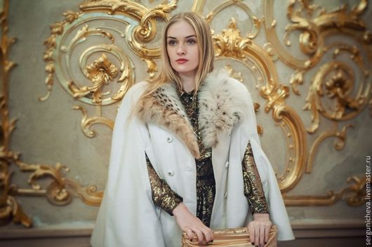 """Верхняя одежда ручной работы. Ярмарка Мастеров - ручная работа. Купить Кейп""""Белое Затмение"""". Handmade. Белый, кейп, классическое пальто"""