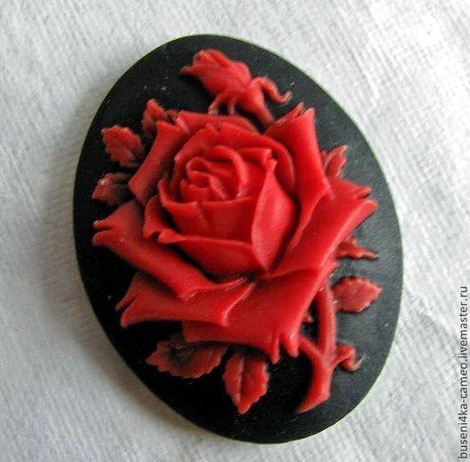 Для украшений ручной работы. Ярмарка Мастеров - ручная работа. Купить Камея Красная роза 30х40мм (пластик) 1шт.. Handmade.