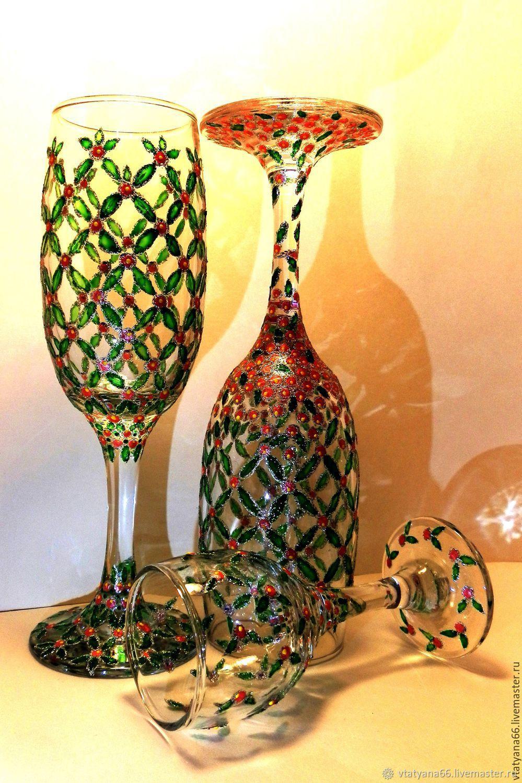 Goblets & Glasses handmade. Livemaster - handmade. Buy Glasses gift painted Climbing roses.Pink, painting on glass