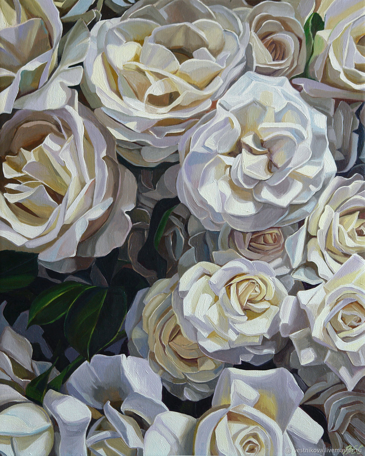 Painting 'White roses' oil on canvas 40h50cm, Pictures, Moscow,  Фото №1