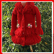 Верхняя одежда ручной работы. Ярмарка Мастеров - ручная работа Пальто для девочки вязаное пальто. Handmade.