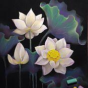 Картины и панно handmade. Livemaster - original item Lotus pastel painting flowers white. Handmade.