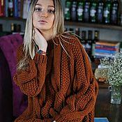 Одежда handmade. Livemaster - original item Voluminous pearl wool toffee sweater. Handmade.
