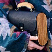 Сумки и аксессуары ручной работы. Ярмарка Мастеров - ручная работа Женская черная сумка из кожи и дерева Big Black Bag деревянная сумка. Handmade.