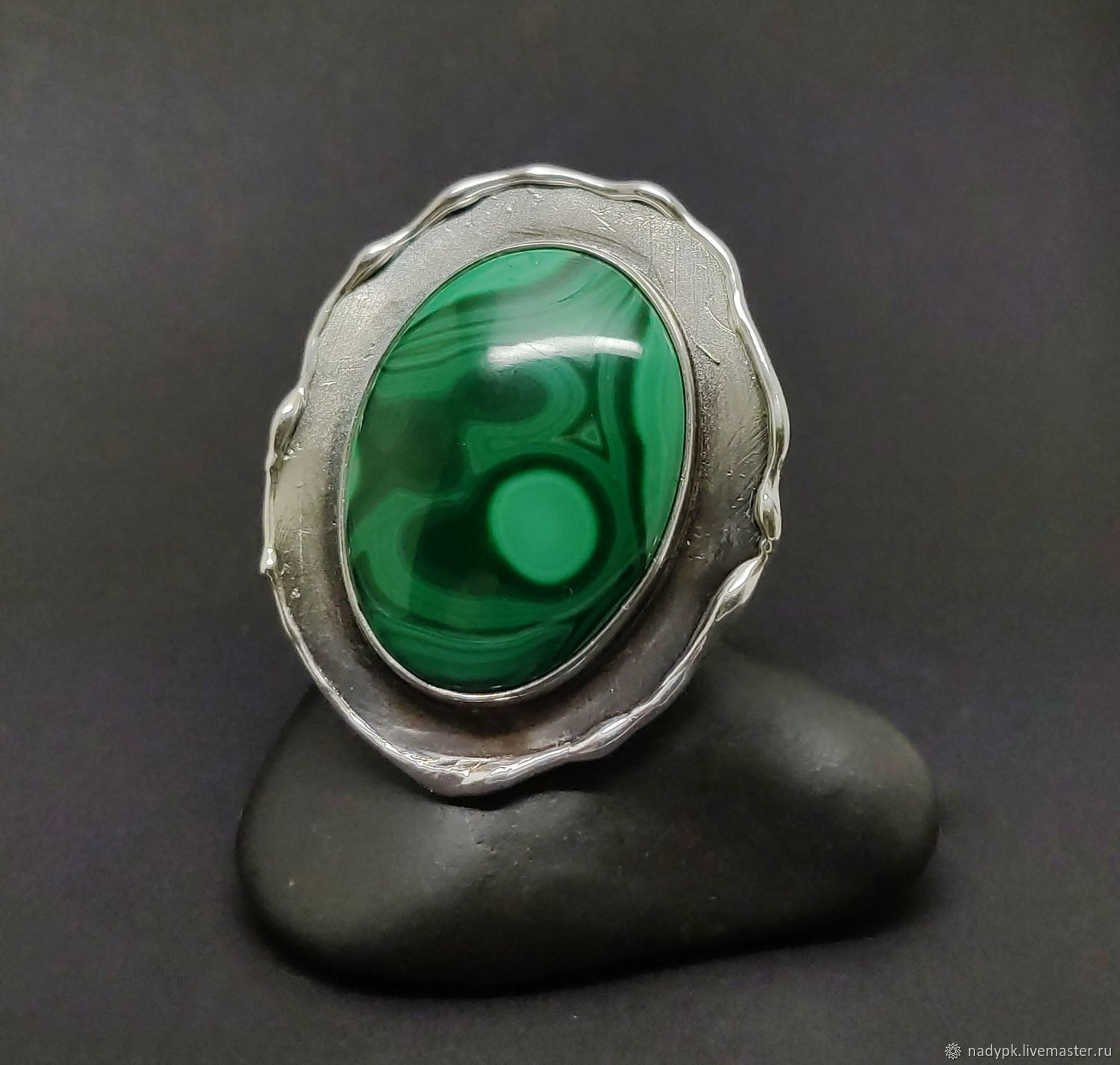Ring with malachite 'Metamorphosis', silver, Rings, Moscow,  Фото №1